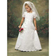 2019 New A-Line Satin Lace First Communion Dresses with Short Sleeves