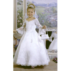 Discount Ball Gown First Communion Dresses/ Long Sleeves Flower Girl Dresses