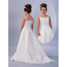 A-Line Square Chapel Train Satin Beading Flower Girl Dress