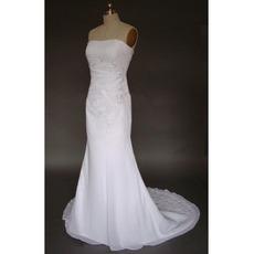 Simple but Elegant Exquisite Mermaid Strapless Court train Satin Chiffon Lace Dress for Bride/Bridal Gown