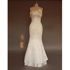 New Style Stunning and Elegant Slim Mermaid Strapless Sweep train Satin Dress for Bride/Bridal Gown