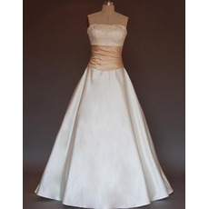 New Style Simple but Elegant A-Line Strapless Court train Satin Beading with Bow Girdle Dress for Bride/Bridal Gown