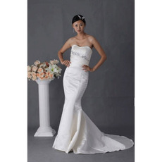 Designer Modest Mermaid Strapless Court Train Bridal Wedding Dresses