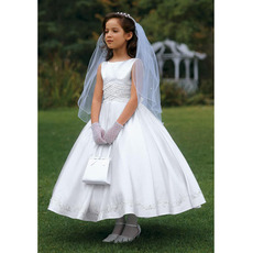 Ball Gown Tea Length Satin First Communion Dresses with Bubble Skirt