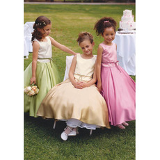 Discount Ball Gown First Communion Dress/ Full Length Taffeta Flower Girl Dress with Ribbon