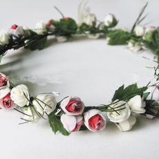Beautifully Simulation of Small Rose Bride Hair Ornaments / Garland / Wreath