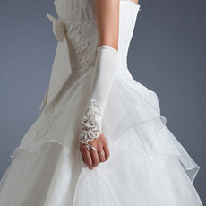 Elbow White Satin Wedding Gloves with Embroidery