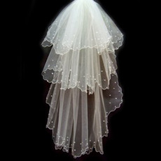 3 Layer Elbow with Beading Wedding Veil