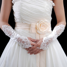 Elbow Ivory Lace Hollow Out Wedding Gloves