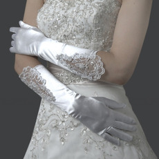 Elbow Satin Ivory Wedding Gloves with Applique