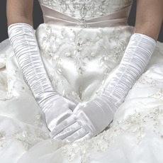 Elbow Ivory Satin Wedding Gloves