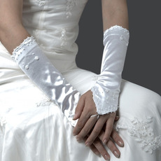 Satin Ivory Hollow Out Wedding Gloves with Beading