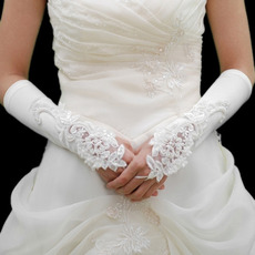 Elbow Satin Ivory Wedding Gloves with Embroidery