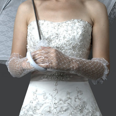 Elbow Tulle White Wedding Gloves with Ruffle
