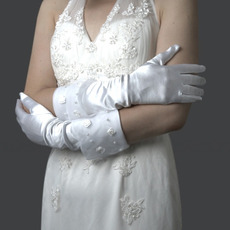 Ivory Satin Wedding Gloves with Flower