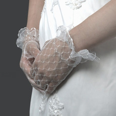 Tulle Wrist White Wedding Gloves with Ruffle