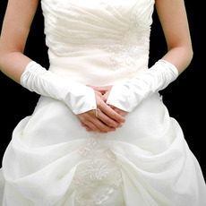 Elbow Ivory Satin Hollow Out Wedding Gloves