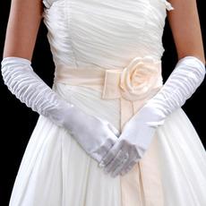 Elbow Ivory Elastic Satin Wedding Gloves