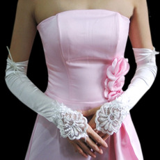 Elbow Ivory Satin Hollow Out Wedding Gloves with Applique