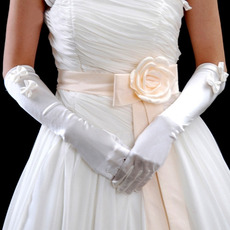 Elbow Ivory Satin Wedding Gloves with Bowknot