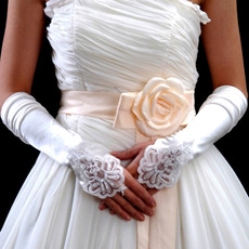 Elbow Satin Ivory Hollow Out Wedding Gloves with Applique