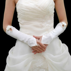Elbow Ivory Satin Hollow Out Wedding Gloves with Bowknot