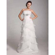Elegant A-line Ruffle Brooch Tiered Organza Wedding Dress