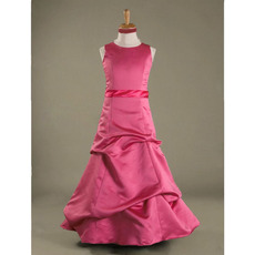 Custom A-Line Floor-Length Satin Junior/ Young Bridesmaid Dresses