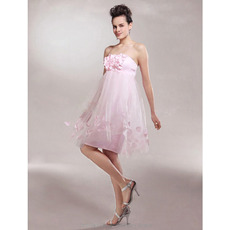 Sexy Pink Empire Strapless Short Tulle Bridesmaid Dresses for Summer