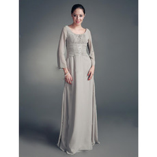 A - line Scoop Floor-length Chiffon Satin Mother of the Bride Dress