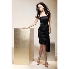 Sheath/ Column Strapless Short/ Mini Elastic Silk-like Satin Bridesmaid/ Wedding Party/ Homecoming Dress