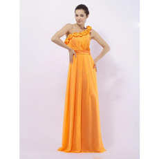 Inexpensive One Shoulder Orange Chiffon Long Bridesmaid Dresses
