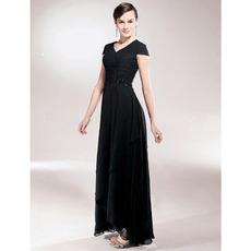 Sheath/ Column V-neck Asymmetrical Elastic Woven Satin Chiffon Mother of the Bride Dress