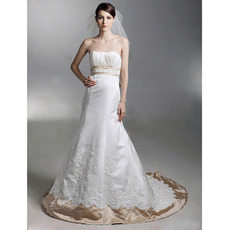 A-Line Sweetheart Chapel Train Satin Wedding Dress