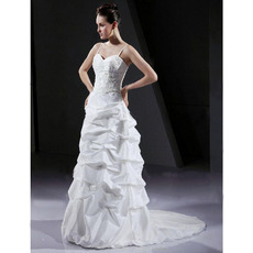 Column/Sheath Spaghetti Straps Court Train Satin Prom Evening Wedding Dress