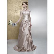 Column/ Sheath Strapless Chapel Train Satin Wedding Dress
