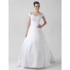 Princess A-Line Off-the-shoulder Court Train Satin Wedding Dresses