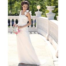 Romantic & Elegant A-Line Straps Court Train Chiffon Satin Informal Summer Garden Wedding Dresses