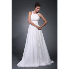 Affordable A-Line Straps Sweep/ Brush Train Chiffon Wedding Dresses