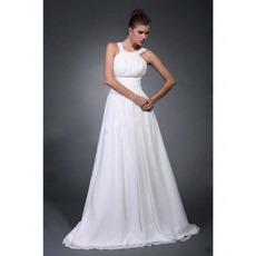 Affordable A-Line Straps Sweep/ Brush Train Chiffon Wedding Dresses