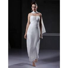 Column/ Sheath Strapless Ankle-Length Chiffon Wedding Dresses