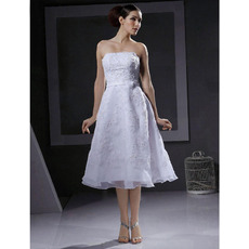 Discount A-Line Strapless Knee Length Short Petite Wedding Dresses