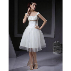 Discount A-Line Square Ivory Tulle Short Reception Wedding Dresses