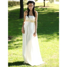 Empire Strapless Sweep/ Brush Train Satin Wedding Dresses