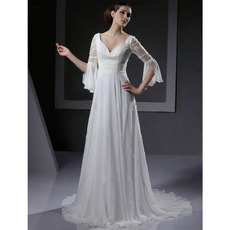Elegant Empire V-Neck Chapel Train Chiffon Wedding Dresses with 3/4 Length Sleeves