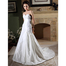 Custom A-Line Sweetheart Court Train Taffeta Satin Wedding Dresses