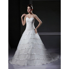 Vintage A-Line Sweetheart Court Train Satin Tulle Wedding Dresses
