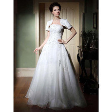 Affordable A-Line Floor-Length Satin Wedding Dresses with Wraps