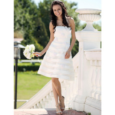 Modern & Chic A-Line Strapless Organza Short Beach Wedding Dresses