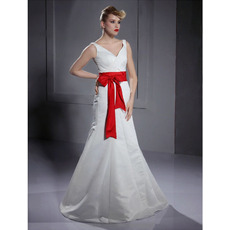 A-line V-neck Floor-length Satin Wedding Dresses with Sashes